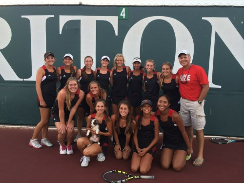 The San Clemente girls tennis team celebrates on the court after winning a share of the South Coast League title. Courtesy photo