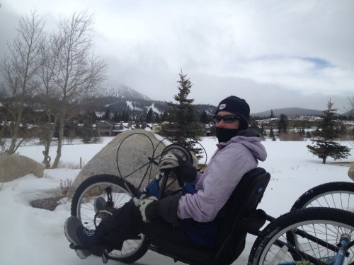 San Clemente's Beth Sanden trains on her custom mountain hand cycle in Big Bear in January. Photo: Courtesy