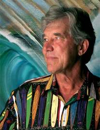 John Severson is also known for designing aloha-print shirts, like the one he is wearing here. Photo: Courtesy John Severson