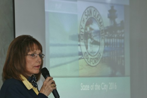 Top5: State Sen. Patricia Bates speaks during the State of the City on Friday, April 8, at Bella Collina Towne & Golf Club. Photo: Eric Heinz