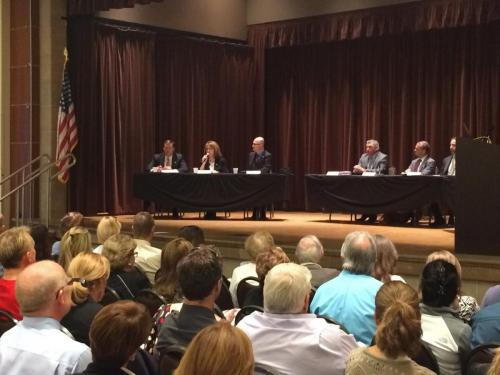 Caption: About 600 people joined local lawmakers in Laguna Hills for a town hall meeting to discuss sober living homes and how to regulate them.