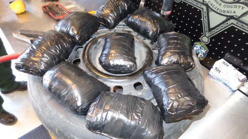 A 25-year-old man driving a 2005 Ford Focus on Interstate 5 was arrested for narcotics smuggling on Sunday, Aug. 14. Photo: U.S. Border Patrol. Agents discovered 81 bundles of cocaine, meth and fentanyl throughout the vehicle that was stopped on Sunday, Aug. 14. Photo: U.S. Border Patrol