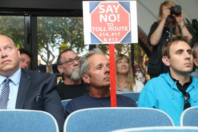People dressed in blue on Tuesday at the San Clemente City Council meeting to show solidarity in opposing the Transportation Corridor Agencies latest proposals for toll roads through San Clemente. Photo: Eric Heinz