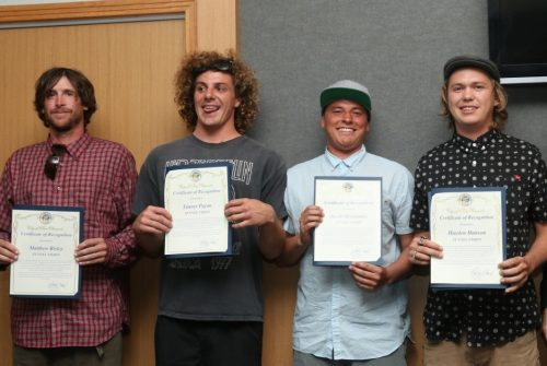From left, Matthew Risley, Tanner Payan, Jacob Hernandez and Hayden Hanson, members of the band Tunnel Vision, were recognized at City Council on Tuesday for their performance at the top of Mt. Kilimanjaro to raise awareness about elephant ivory poaching. Not pictured, Daniel Delacruz of the band Slightly Stoopid performed with Tunnel Vision at the top of the mountain. Photo: Eric Heinz