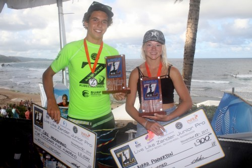 Cole Houshmand and Kirra Pinkerton after winning their respective divisions at the Live Like Zander Junior Pro in memory of Zander Venezia. Photo: Courtesy of WSL