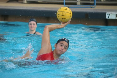 Brooklyn Aguilera takes a shot during a San Clemente girls water polo practice. Photo: Steve Breazeale
