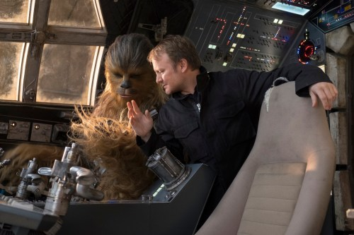 Chewbacca (Joonas Suotamo) and director Rian Johnson on set during the filming of 'Star Wars: The Last Jedi.' Photo: David James/Copyright 2017 Lucasfilm Ltd.