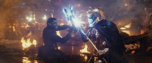 Finn (John Boyega) battling Captain Phasma (Gwendoline Christie). Photo: Copyright 2017 Lucasfilm Ltd.