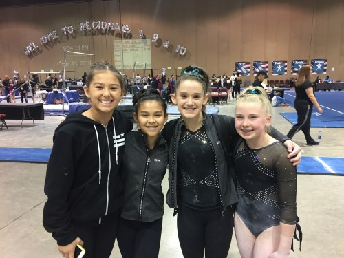 San Clemente's Abby Howard (middle right) celebrates her bronze medal finish on vault at Region 1 Championships in Reno, Nevada. Photo Courtesy Corrie Gohres