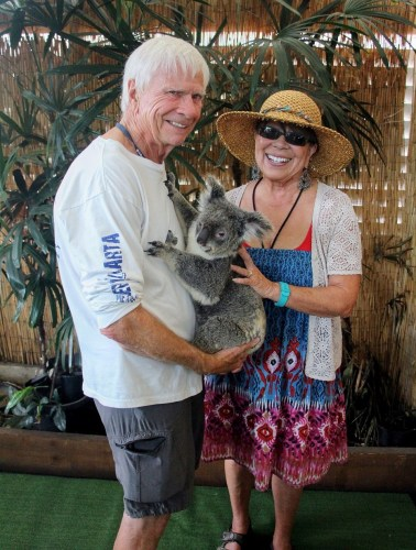 "Tom Blake, left, and his partner, Greta, hold ""Nellie,"" a 6-year-old koala, in this photo taken on Nov. 22 in Cairns, Australia. Photo: Courtesy of Tom Blake"