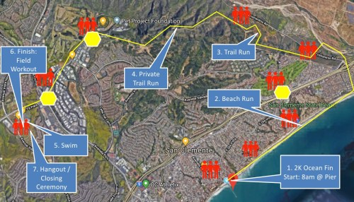 The icons where people are located along the race route indicate where volunteers will be located; the hexagons are locations where Orange County Sheriff's Department will be stationed to ensure participants' safe crossing. The Marine Raider Challenge starts at 8 a.m. on Saturday, Feb. 16 at the San Clemente Pier. Photo: Courtesy of the Marine Raider Challenge