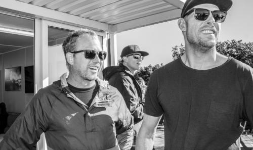 Pat O'Connell with Mick Fanning at J-Bay in 2017. Photo: Courtesy of WSL/Tostee