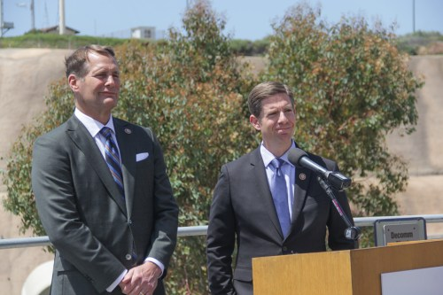 Congressmen Mike Levin and Harley Rouda field questions from reporters during a press conference at the San Onofre Nuclear Generating Station on Tuesday, April 16. Photo: Shawn Raymundo