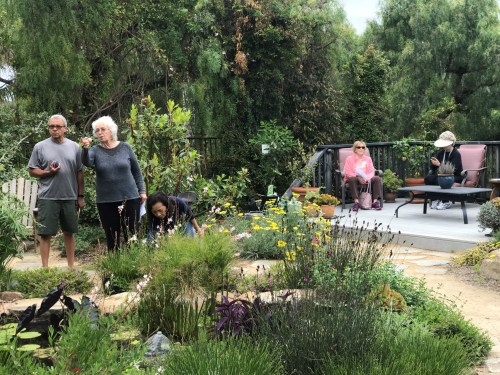 Visitors explore a backyard garden at a home in San Juan Capistrano. /Photo by Freda D'Souza