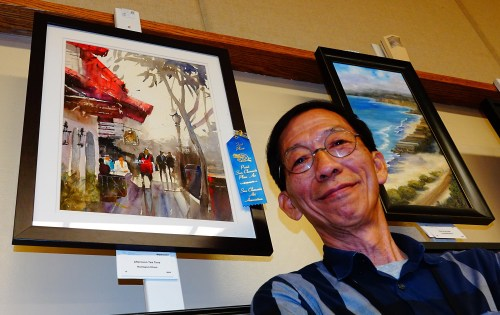 "Paint San Clemente: Hermann Chen of Alhambra earned first place in San Clemente Art Association's 2019 Paint San Clemente competition with his watercolor—titled ""Afternoon Tea Time,"" depicting a downtown sidewalk scene. Photo: Fred Swegles"