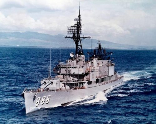 A picture of the USS ORLECK DD-886, a highly decorated Gearing Class Destroyer, on which Joe was stationed and served as a Radio Man Seasman during the Korean War. Photo: Richard Miller BMCS USNR RET