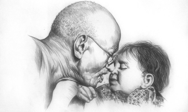 Gandhi-Pencil-Drawing
