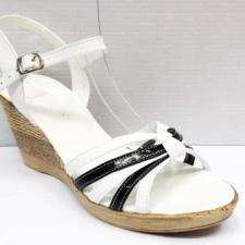 Sandale dama albe cu insertii de negru