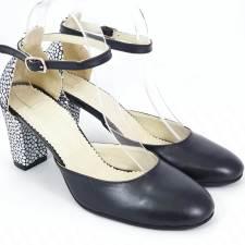 Sandale dama piele negru cu alb Elvira