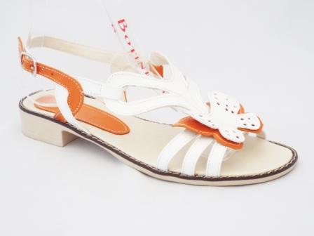 Sandale dama portocalii cu alb