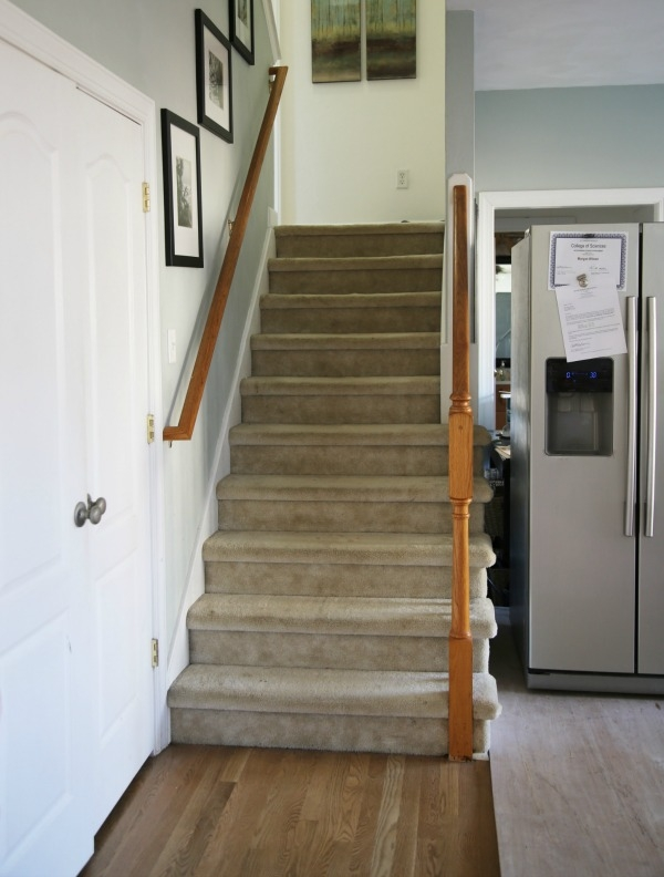 Painted Staircase Makeover With Seagrass Stair Runner   Carpet Down Middle Of Stairs   Stair Rods   Wood   Hardwood   Steps   Laminate Flooring