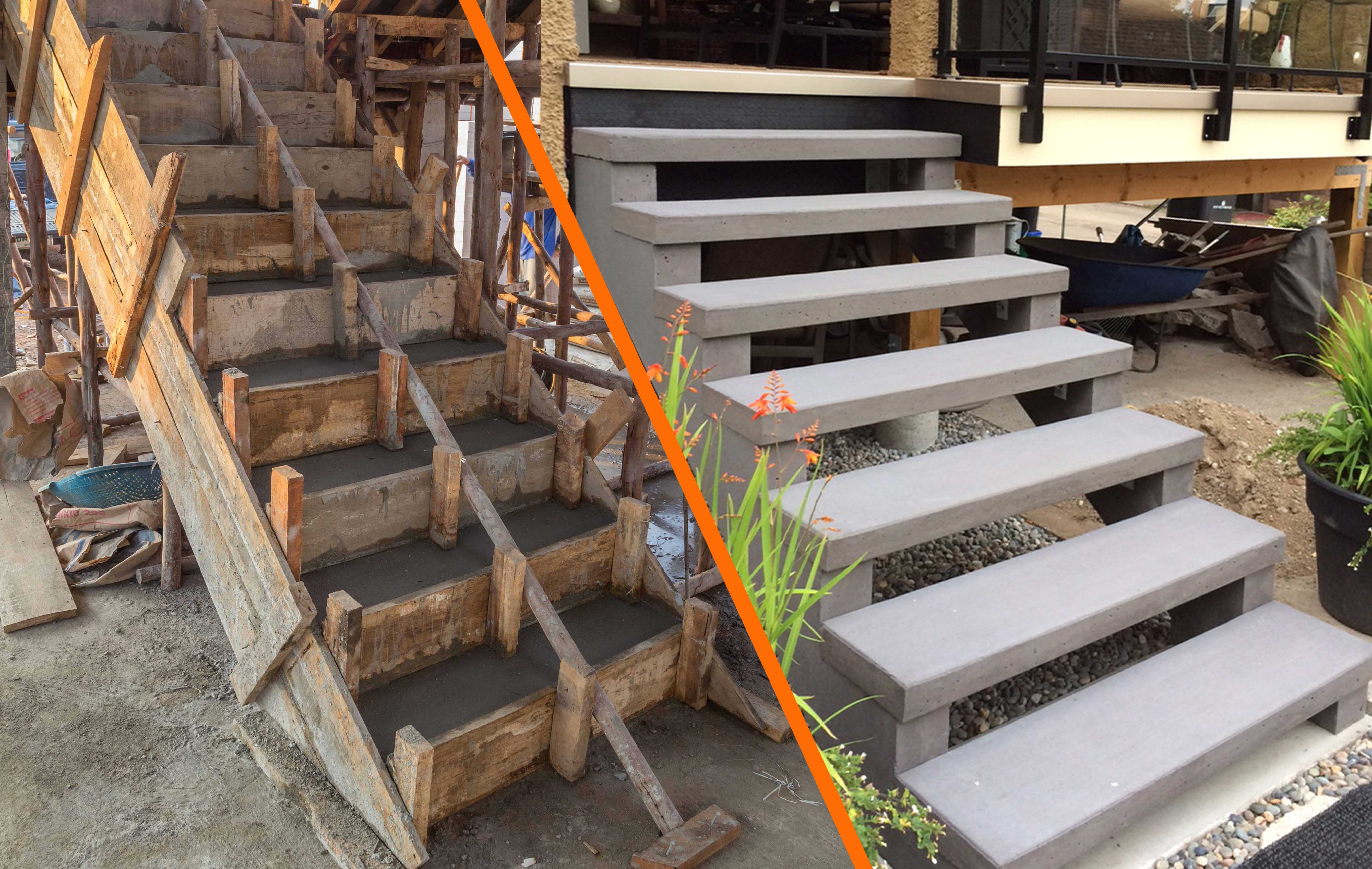 Ready Mix Concrete Steps Vs Precast Concrete Stairs Sanderson   Concrete And Wood Stairs   Concrete Wall   Separated   Concrete Building Interior   Glass Balustrade   White Riser Wood