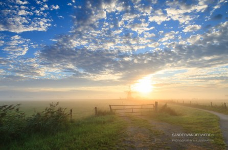 Late summer sunrise in the Dutch countryside.