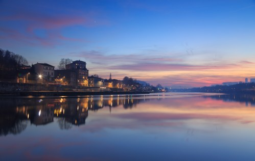 Colorful dusk at the Saone river.