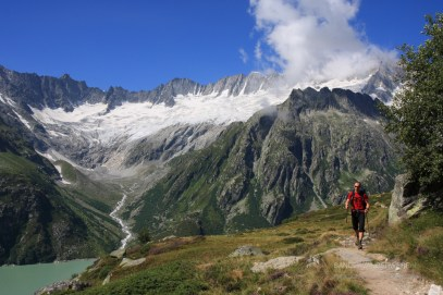 Hiking in the Urner Alps in Switzerland.