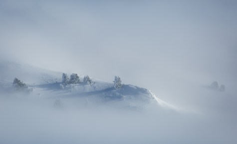 Winter landscape in the foggy Vercors mountains, France