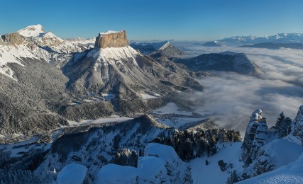 The famous Mont Aiguille in the Vercors mountains, France.