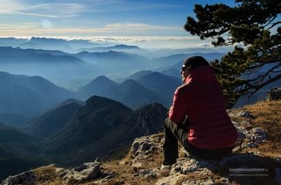 Female hiker enjoying the Vercors during winter.