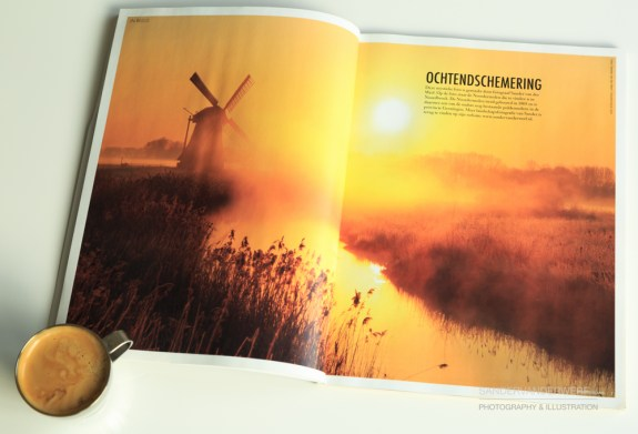 'Ochtendschemering', photo of the Noordermolen in magazine Noorderland