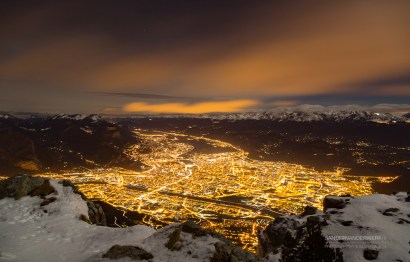 Grenoble at night, seen from le Moucherotte.