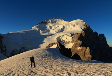 Mountaineer on a snow ridge near Barre des Ecrins, Fracne.