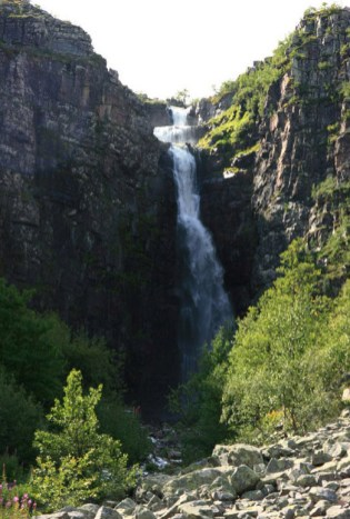 Njupeskar waterfall.