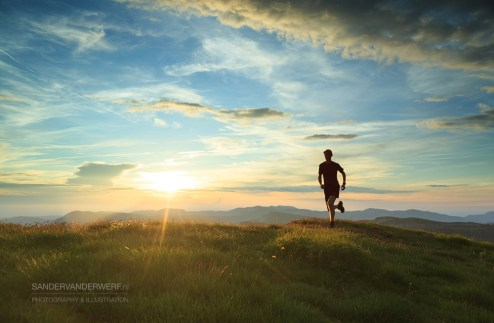 Trailrunning in the Vercors during a nice sunset.