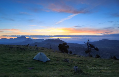 Campsite in the Vercors mountains at dawn.