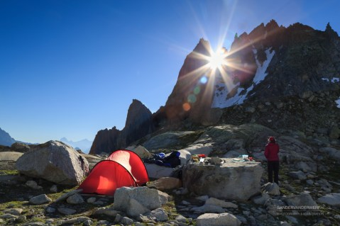 Urner Alps campsite in the morning.