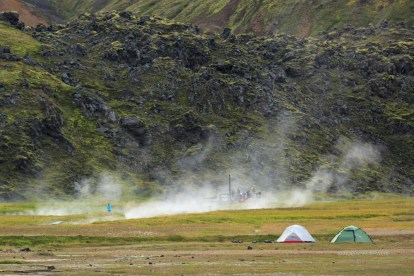 Tents and hot pool near the Landmannalaugar campsite.