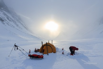 Making a winter camp in the snow of Lapland.
