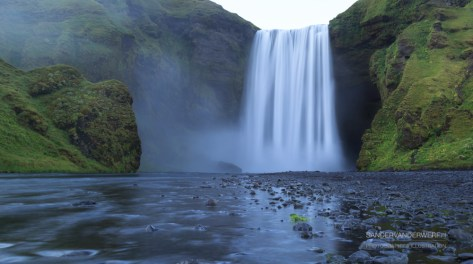 The Skogarfoss waterfall on Iceland.
