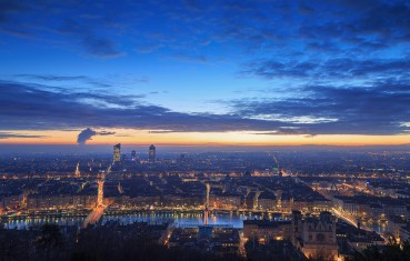 Cloudy dawn seen from landmark Fourviere.