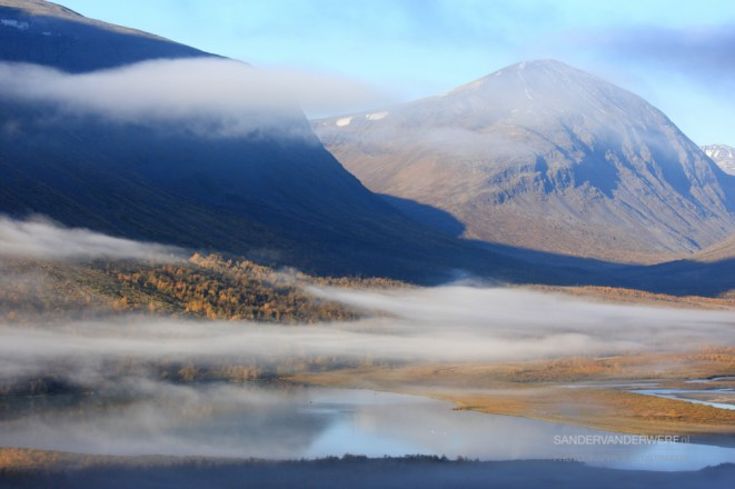 Autumn fog in the Rapadalen valley in Sarek.