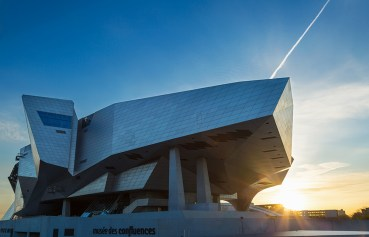 Modern architecture of Musee des Confluences during a nice sunrise in Lyon, France.