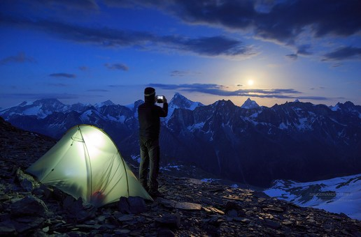 Photographing the moon rising above the Matterhorn.