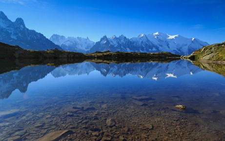 Mountains and sky reflected in Lac De Cheserys.
