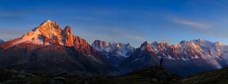 Mont Blanc mountain range during sunset.