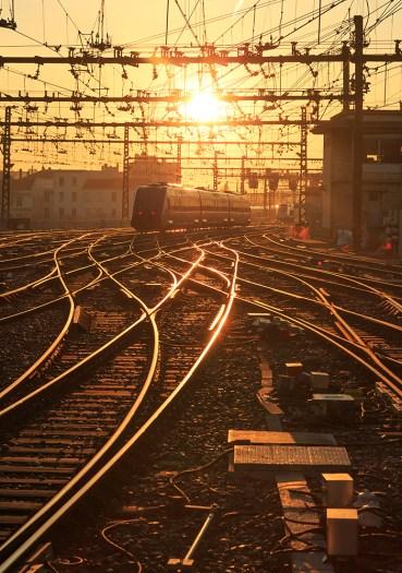 Sunrise over the railroad tracks at Perrache station.