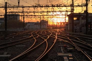 Empty railroad tracks during a nice sunrise at Gare de Lyon-Perrache.
